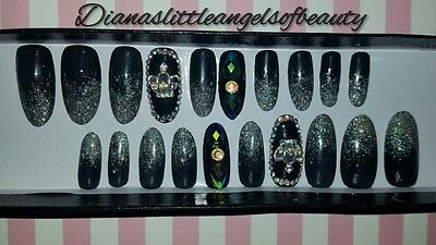 Full cover Press On Nails Handmade oval New year Glam 20 pcs set (GEL)