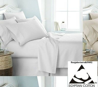 200 Thread Count Luxury 100% Egyptian Cotton Extra Deep Fitted Sheets All Sizes