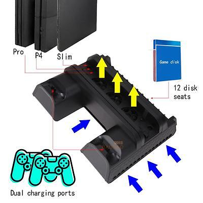 Vertical Multi-Functional Cooling Pad Cooling Dock Stand for PS4 PS4 Slim Pro