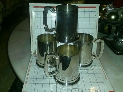 Set of 4 WILLIAM ROGERS SILVER PLATE BEER STEINS GLASS BOTTOM PINT MUGS NWT RARE