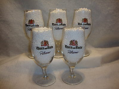 THURN & TAXIS PILSNER BEER GLASSES Lot x 5 Stemmed Chalice Style 0.4L Germany