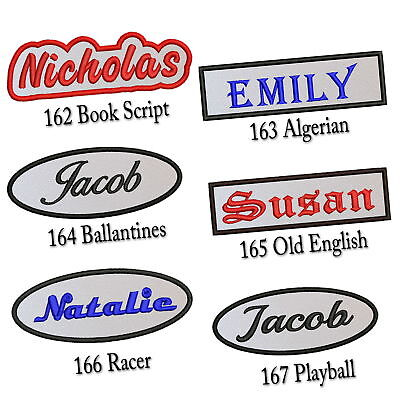 """Personalized Embroidered Name Patch 4""""-5"""" Tag Rectangular Oval Freehand White"""