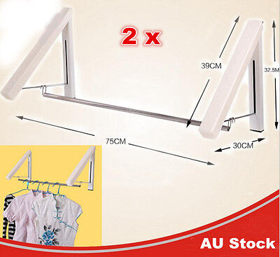 2 x Instahanger Wall Mounted Folding Clothes Airer Rack Clothes Line Laundry