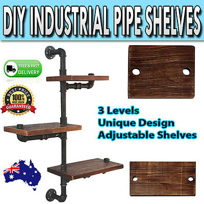 Adjustable Rustic Industrial DIY Floating Pipe Shelf Décor Three Tier Shelving