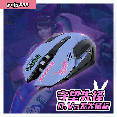 Game Overwatch OW D.VA Cosplay Mice LED Light Optical Wired 3D Gaming Mouse PC
