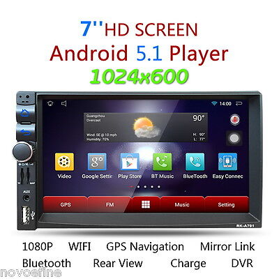 "7"" Android 5.1.1 Double DIN SAT NAV Car GPS MP3 Player Stereo Radio WiFi Touch"