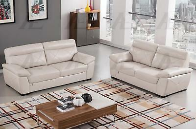 Bon American Eagle EK081 LG Light Gray Sofa And Loveseat Set Italian Leather  2Pcs