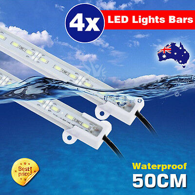 4X12V Waterproof Cool White 5630 Slim Led Strip Lights Bars Camping Boat Car AU