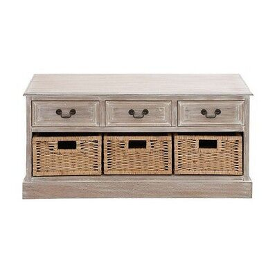 Deco 79 96286 Wood 3-Basket Low Chest 40 by 20-Inch NEW