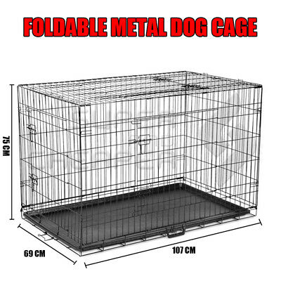 """42"""" Dog Cage Pet Crate Puppy Cat Foldable Metal Kennel Portable House 3 Doors"""