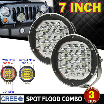 2x 7INCH 540W CREE LED SPOT&FLOOD DRIVING LIGHT BAR REPLACE HID 4X4WD UTE SUV 4""