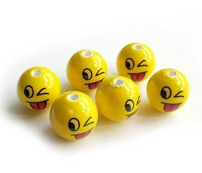 10Pcs Hand Painted Porcelain Happy Face QQ Naughty Expression Beads Finding
