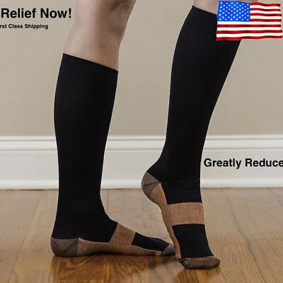 Copper Socks Anti Fatigue Compression Stocking Socks Calf Support Relief HL