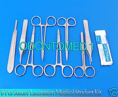 8 Pcs Suture Laceration Medical Student Surgical Instruments Kit+5 Blade #22
