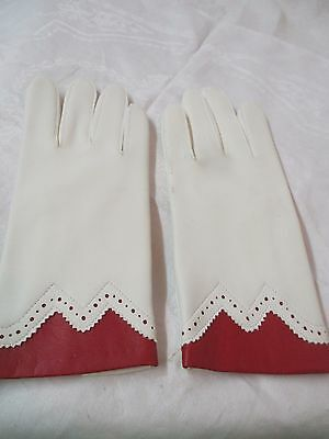 Vintage Hong Kong Van Raalte Women's vinyl Gloves red & white sz large
