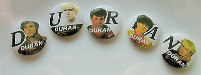 DURAN DURAN SET OF 5 VINTAGE METAL BUTTON BADGES FROM THE 1980's OLD RETRO