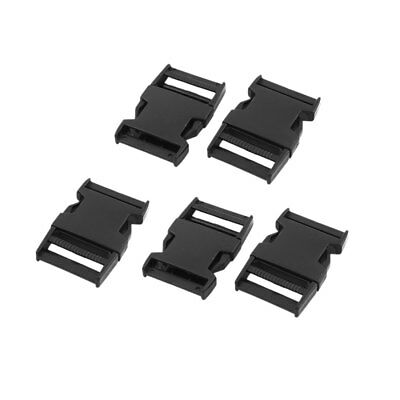 Backpack Plastic Rectangle Strap Tie Safety Quick Release Buckle Black 5 Pcs