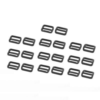 Schoolbag Plastic Rectangle Webbing Connecting Tri Glide Buckle Black 20 Pcs