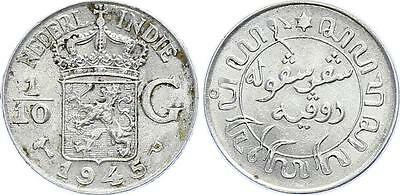 COIN Netherlands East Indies 1/10 Gulden 1945 KM# 318 Silver XF+