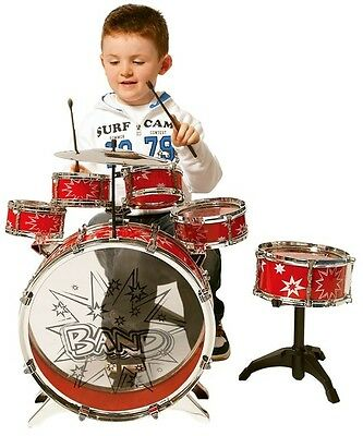 Kids Drum Set Kit 11 Piece with Stool for Boys Girls Musical Instrument Gift Red