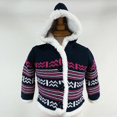 Baby Girl Hooded Knitted Nordic Blue Pink Cardigan Hoodie Jacket Age 6-9 Months