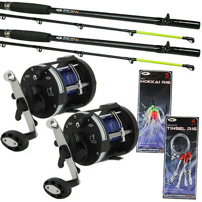 2 x BOAT RODS 6ft AND MULTIPLIER REELS SET WITH SEA FISHING FEATHERS NGT
