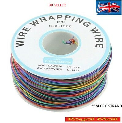 200M 30AWG 8-Wire Colored Insulation Wrapping Cable 1  ROLL 25M OF 8 STRAND #W10