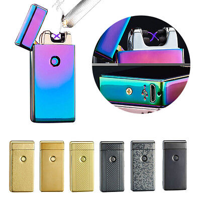Rechargeable Electric Lighter Dual Arc Pulse Flameless Plasma Clipper+USB Cable
