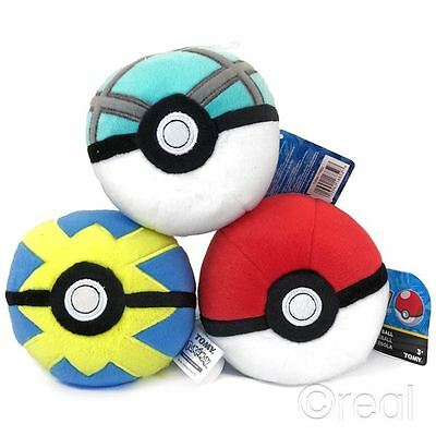 "New Pokemon Quick Ball Net Ball Or Poke Ball 5"" Plush Toy TOMY Official"