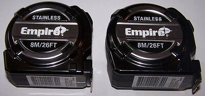 2 X STAINLESS EMPIRE 8M/26FT TAPE Measure Double Sided EM08SST
