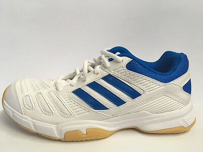 Adidas BT Boom Mens Squash Badminton Indoor Shoe White + Blue - CLEARANCE