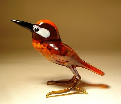 "Blown Glass Figurine ""Murano"" Art Bird WOODPECKER"