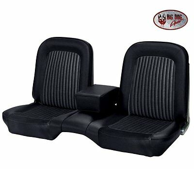 1968 Ford Mustang Black Front Bench Seat Upholstery Made in USA by TMI