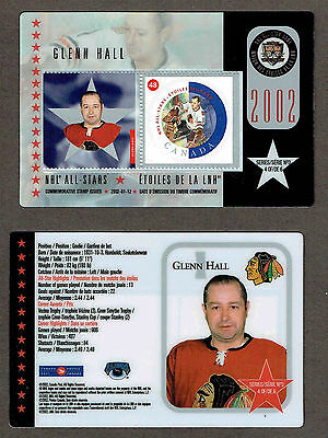 2002 Canada Post NHL All-Stars, Blackhawks' Glenn Hall Laminated Stamp Card