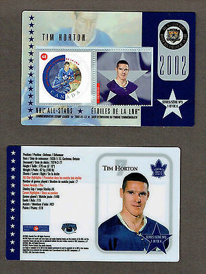 2002 Canada Post NHL All-Stars, Maple Leafs' Tim Horton Laminated Stamp Card