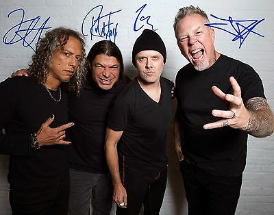 Metallica James Hetfield Kirk Hammet Robert Trujillo Signed 11x14 Reprint Photo
