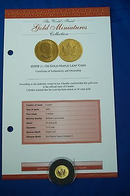 *n 2009 Solid 24Ct 1/20Oz Gold Maple Leaf $5 Coin With Certificate