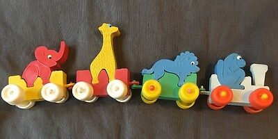 Vintage rubber circus train with animals West Germany