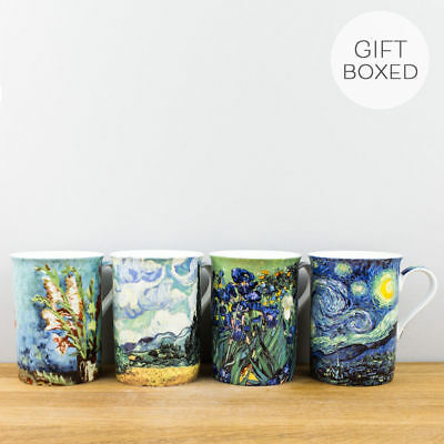 New Fine Bone China Van Gogh Artist Collection Set of 4 Gift Boxed Mugs