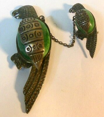 Vintage Mexican Jade & Silver Tw0 PARROT Brooch Pin