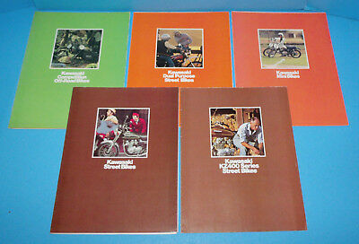 Lot of 5 1976 Kawasaki Fold Out Poster Brochures Mushrooms History LSD
