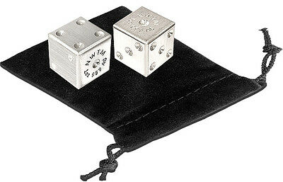 One Pair Of 1 oz .999 Fine Solid Bullion Silver Dice With Velour Pouch - 2 OZS.