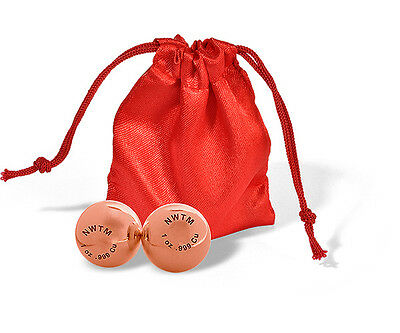 One Pair (2 Balls) Of Solid 2 oz .999 Copper Balls With Silk Pouch - 1 OZ EACH