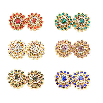 2 Pcs Women Crystal Flower Magnetic Hijab Scarf Magnet Pin Brooch Scarf Clips