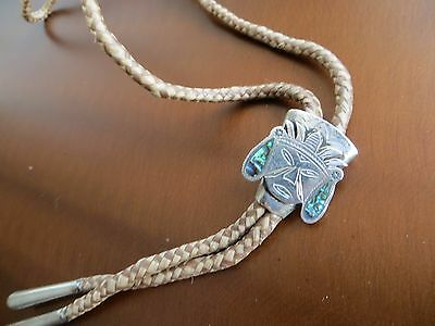 Vtg 925 Sterling Silver Mexico Hand Made Abalone Shell Inlay Mayan Mask Bolo Tie