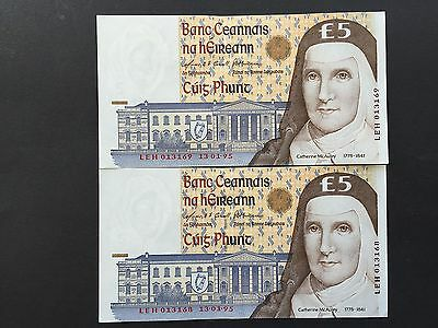 Ireland Republic Eire 5 Pounds P75b 2 Consecutive Notes Dated 1995 EF+ aUNC