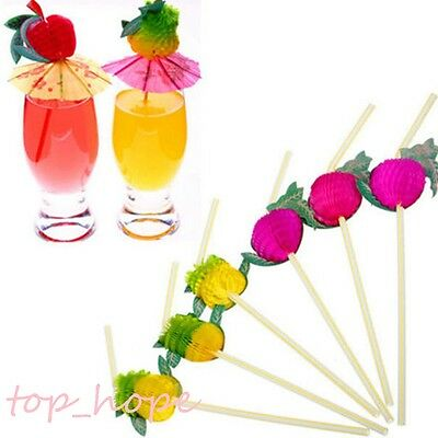 10/20Pcs Assorted Hawaiian Theme 3D Fruit Colorful Cocktail Party Drink Straws