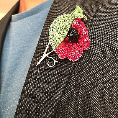 Poppy Pin Brooch Badge Red Flower Remembrance Day Diamante Crystals Gift UK Post