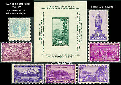 Scott # 795 - 802 1937 Commemorative Year Set 8 Stamps Mint NH