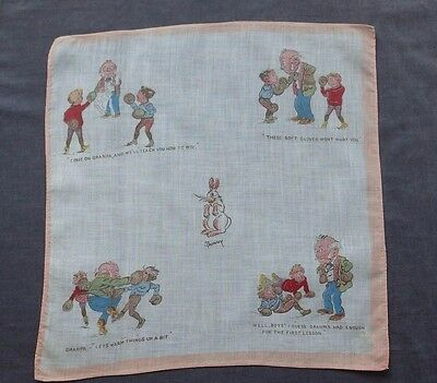 FUNNY Printed Antique Hankie: Boys and Granpa BOXING, Edwardian Sports Costume